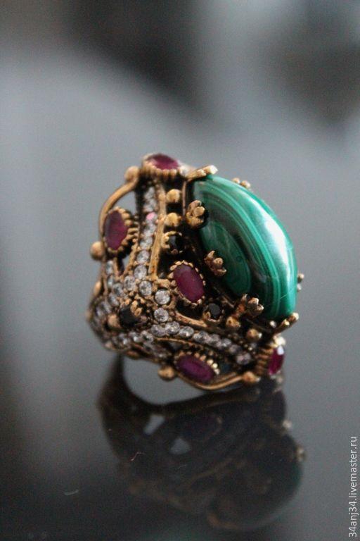 """Купить Кольцо """" Ночные Огни 2 """" - зеленый, кольцо, кольцо с малахитом"""