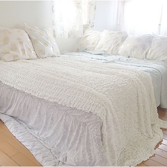 ベッド周り 夏仕様 タオルケット 寝室インテリア ベットルーム などのインテリア実例 2017 07 01 09 57 56 Roomclip ルームクリップ ベットルーム インテリア ベットルーム ベッド