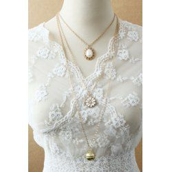 Wholesale Stylish Women's Beads Flower Pendant Sweater Chain Necklace (AS THE PICTURE), Necklaces - Rosewholesale.com
