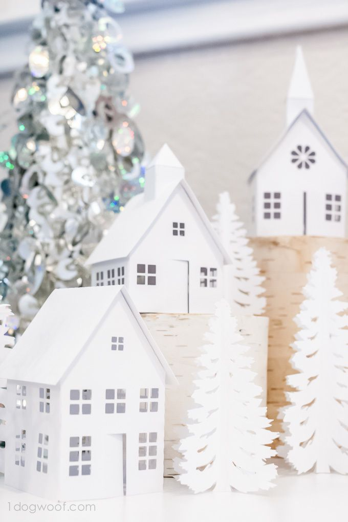 Most Gorgeous Winter Village: use your Silhouette machine to create these gorgeous winter houses. Leave this decoration up past Christmas! It can stay up all winter.