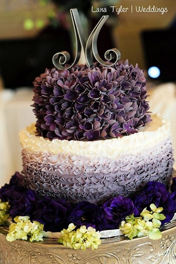 Purple Ombre Flower & Ruffles Cake