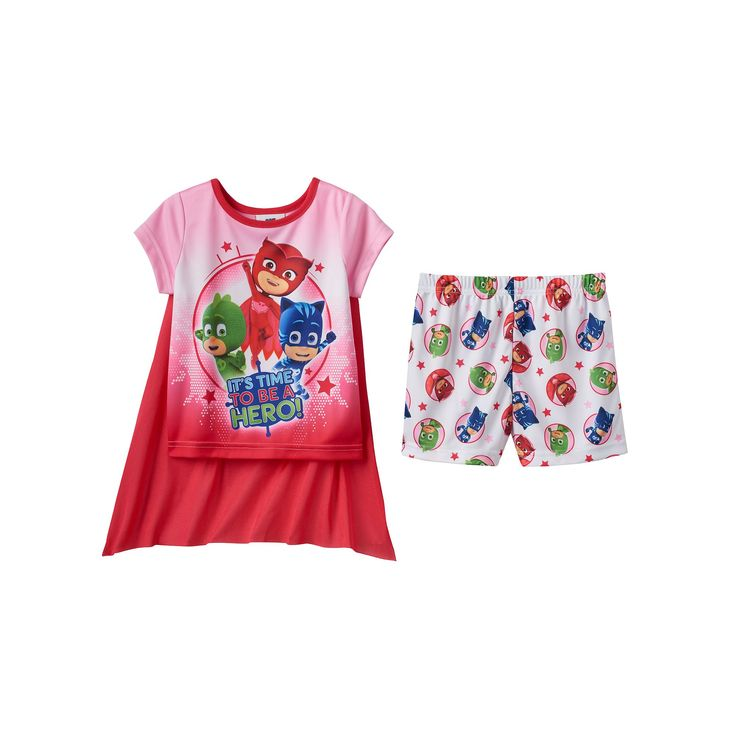 Toddler Girl PJ Masks Catboy, Gekko & Owlette 3-pc. Cape Pajama Set, Size: 2T, Multicolor