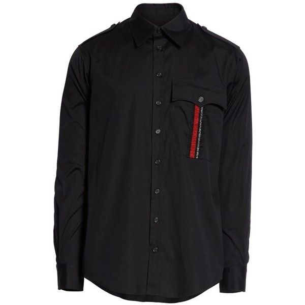 Men's Dsquared2 Military Shirt ($485) ❤ liked on Polyvore featuring men's fashion, men's clothing, men's shirts, black, men's apparel, mens military style shirt, mens clothing and mens military shirt