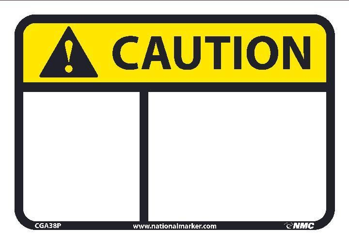Blank Header Only Ansi Iso Caution Header Signs Cga38 By