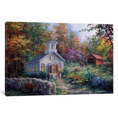 "East Urban Home 'Worship in the Country' Painting Print on Canvas Size: 26"" H x 40"" W x 0.75"" D"