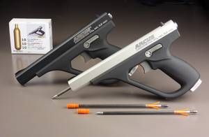 With the ARROW STAR CO2 Arrow pistol caliber bullets can be fired arrow 5.9 mm by means of gas pressure. With the CO2 gun arrow of ARCUS an absolute world first was presented to the public. This is an intermediate stage of a gun and a crossbow or in other words to a crossbow without bow with an arrow projectile is directly driven by compressed carbon dioxide gas.