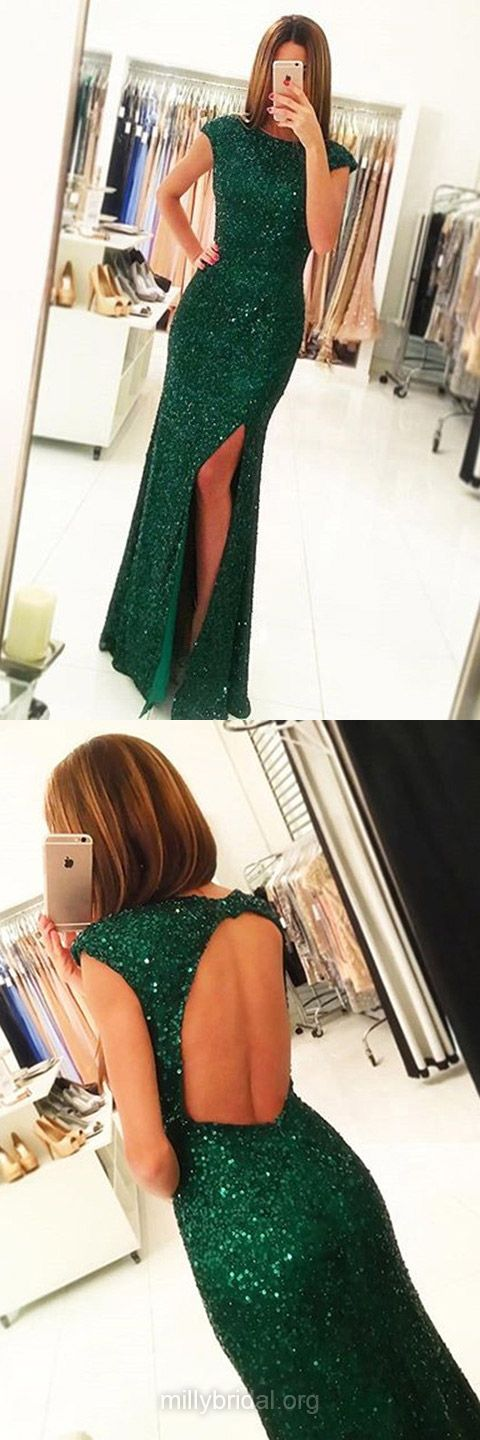 Green Prom Dresses Long,Sheath/Column Formal Dresses Scoop Neck, Sequined Party Dresses Open Back Latest