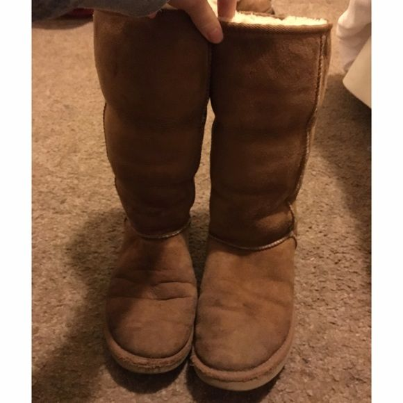 Original tall ugg boots Tall ugg boots in chestnut. Have some wear as shown in photos but still lots of life left and very cozy, can be worn with the tops rolled up or down as shown in photos UGG Shoes Winter & Rain Boots