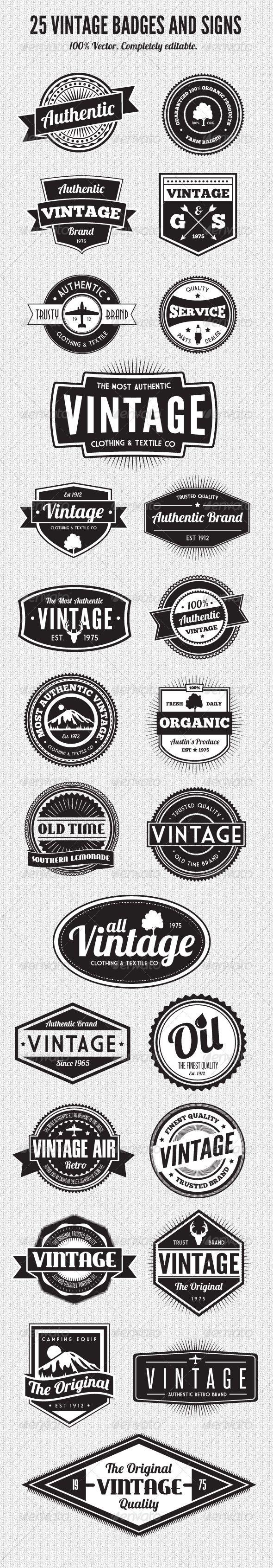 25 Premium Retro Style Vector Badges