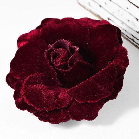 4-1/2 Velvet Flower Pin by 1 pc black brown wine