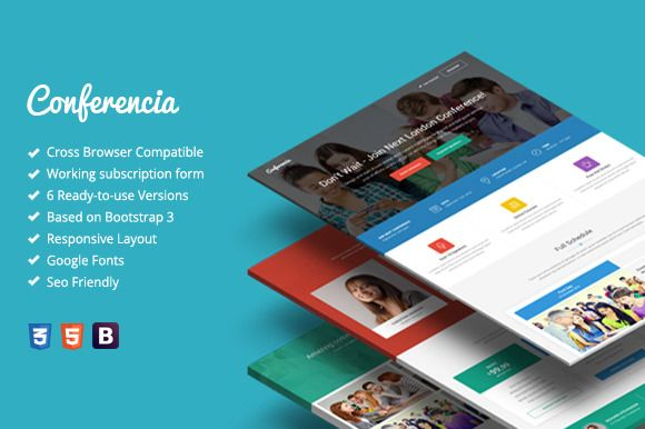 Conferencia - Event Landing Page by bogdan_09 on Creative Market