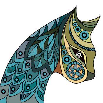 кошка вектор: этнические стилизованные узорные профиль кота. Цветочный дизайн. Вектор для печати, веб, плакат, футболку.