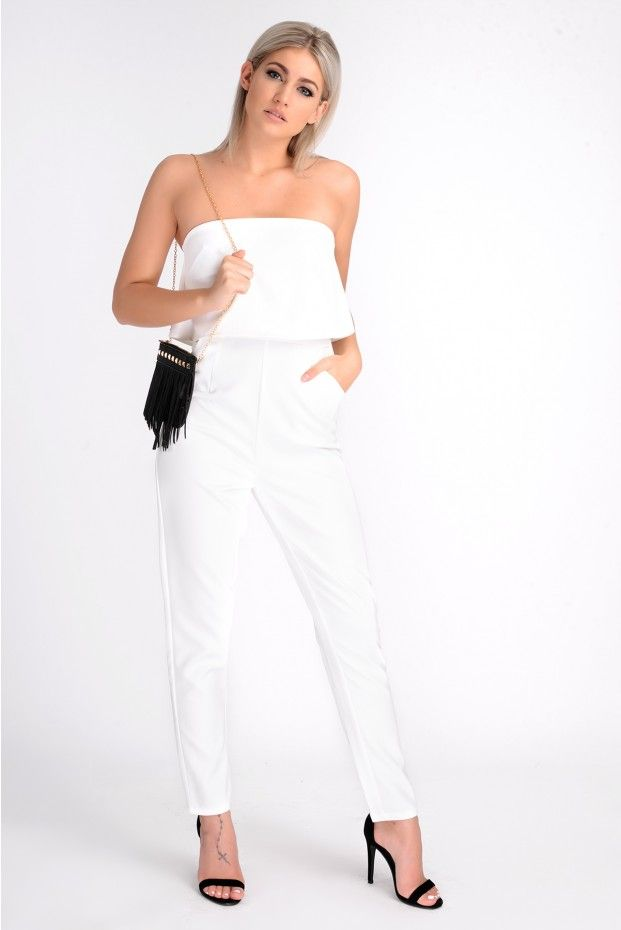 XANTHE WHITE LAYERED BANDEAU JUMPSUIT