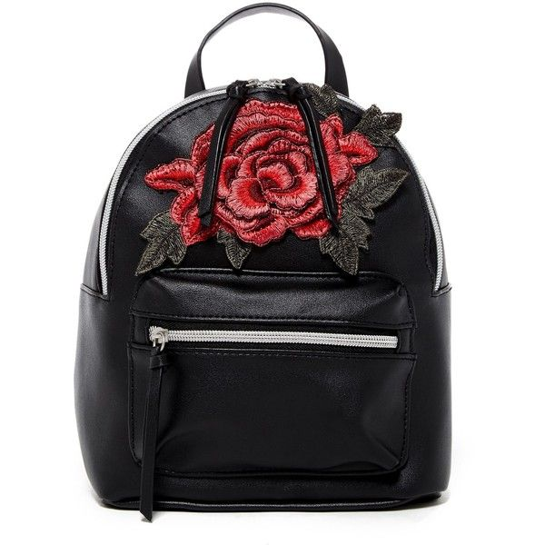 T-Shirt & Jeans Rose Patch Backpack ($25) ❤ liked on Polyvore featuring bags, backpacks, backpack, black, shoulder strap bags, day pack backpack, rucksack bags, handle bag and patch handle bags