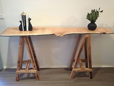 Nice Vintage Industrial Trestle Console Table Hall Table