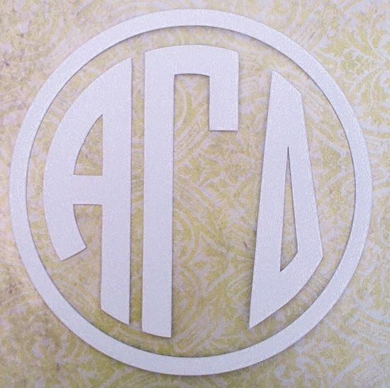 alpha gamma delta agd sorority letters white circle monogram decal 6 great