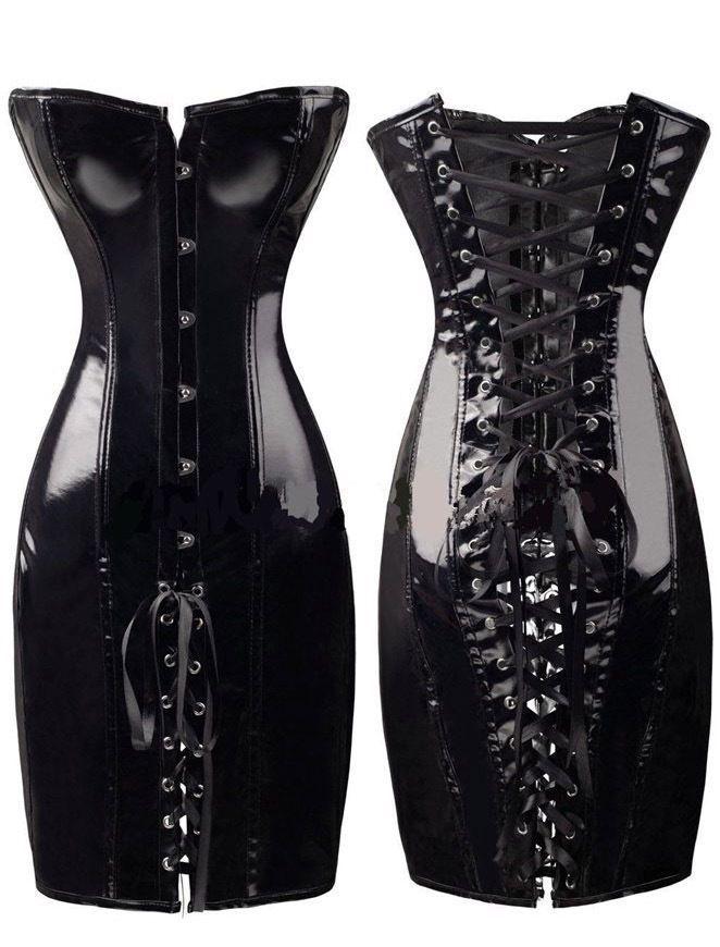Plus Size Burlesque Women's Lace Up Faux Leather Corset Party Bondage Dress 6-16
