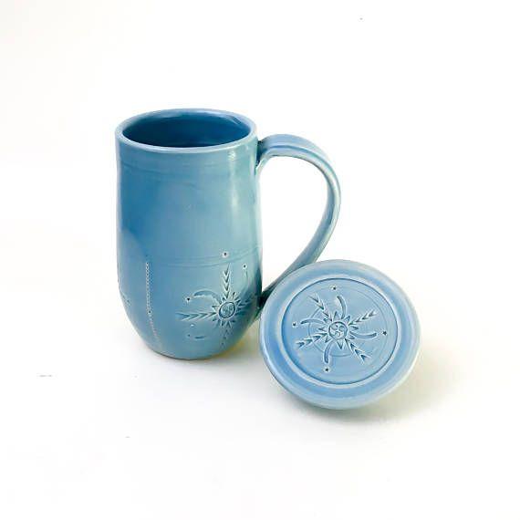 Handmade Coffee Mug With Lid Light Blue Lidded Mug Ceramic