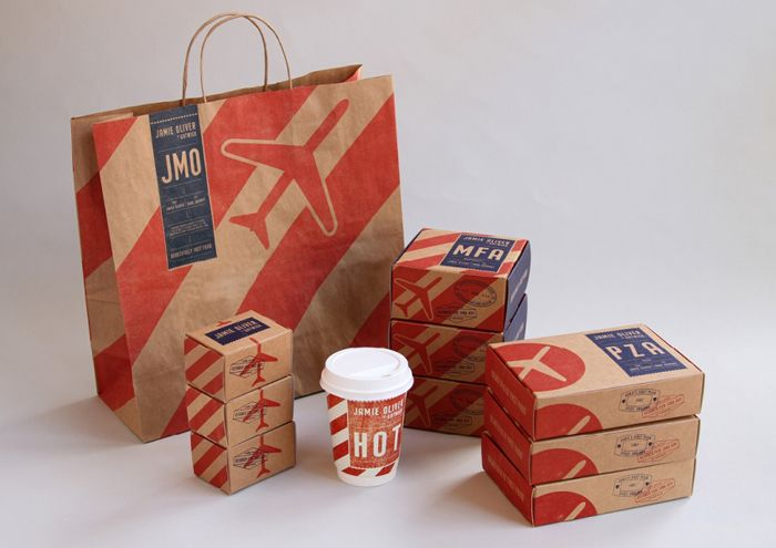 Take away food packaging for Jamie Oliver at Gatwick created by The Plant.