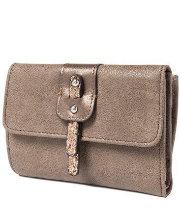 Серо-коричневый кожаный женский кошелек тройного сложения