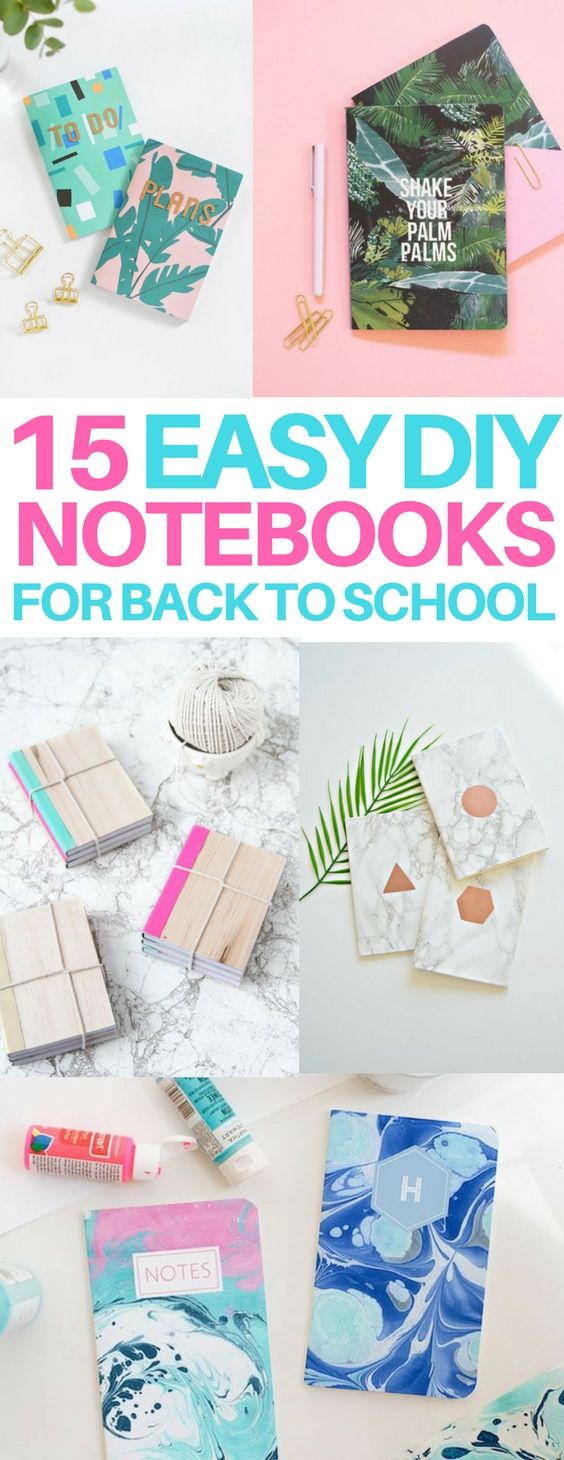 The BEST DIY notebook ideas for school or work! I love DIY back to school projects and these really help me get organized. Great for a college student who needs cheap notebooks. (Cool Art Ideas)
