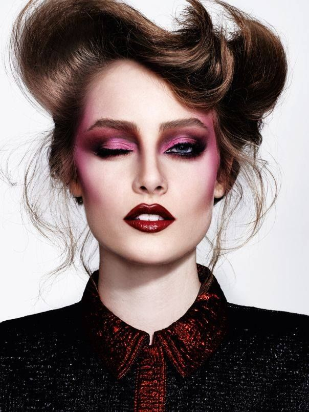 I just LIVE for 80's makeup!! *swoon* And then Reds & Burgandys too boot! *le sigh* Be still my beating heart!  Thairine Garcia Photographed by Nicole Heiniger | beauty - editorial makeup