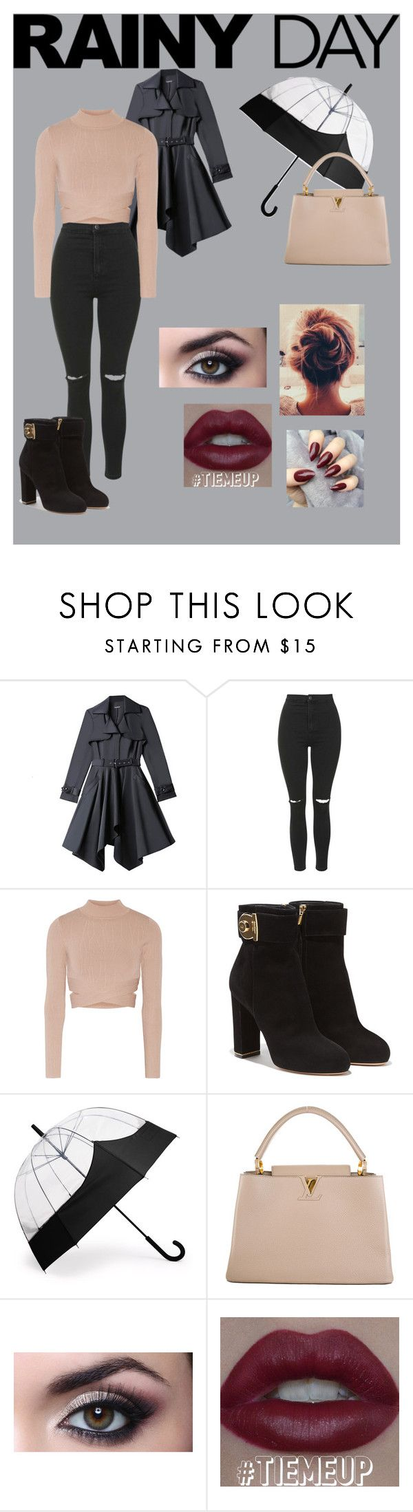 """Rainny Day"" by anasofiamoreira82 ❤ liked on Polyvore featuring Bebe, Topshop, Jonathan Simkhai, Salvatore Ferragamo, Hunter and Louis Vuitton"