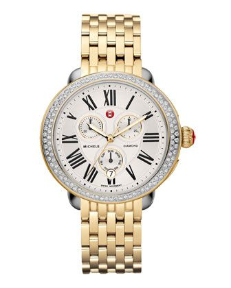 Serein+Diamond+Two-Tone+Watch+Head+&+Serein+18k+Gold-Plated+Bracelet+Strap+by+MICHELE+at+Neiman+Marcus.