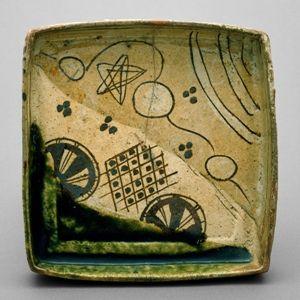 Seattle museum of art,  Square serving dish, early 17th century, Japanese, Momoyama (1573–1615)–Edo (1615–1868) period, Mino ware, Oribe style; glazed stoneware, 1 7/8 x 7 3/4 in.,