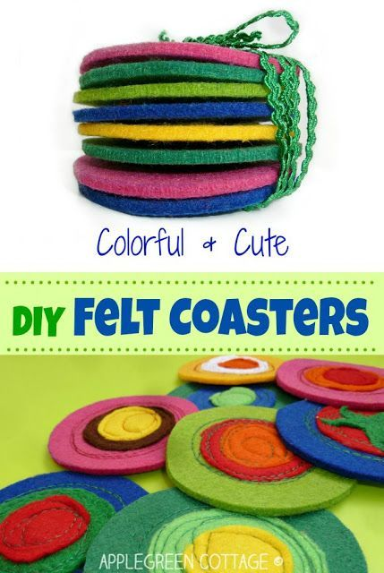 Easy felt coasters tutorial - If this isn't a perfect homemade gift! Click on the pin to get to the totally easy tutorial.