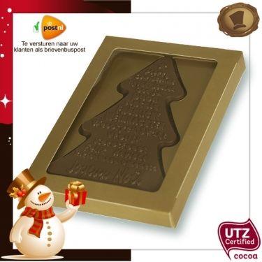 Wensboom Vrolijk Kerstfeest 135 gram  Smaak Melk of Pure chocolade.  Verpakking Matgoud of Rood. Te bestellen vanaf 60 stuks. #chocolade #kerst #geschenk