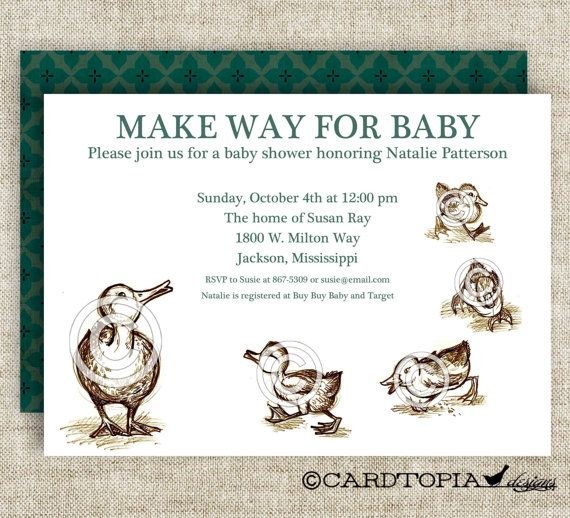 Make Way For Ducklings BABY SHOWER Invitations