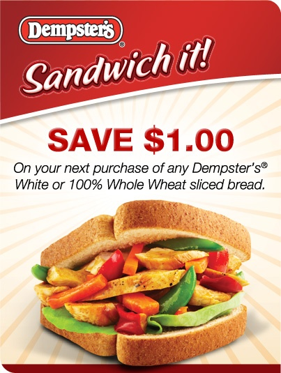 Sandwich it & Save with our friend Dempsters! Save $1.00 on Dempsters White or 100% Whole Wheat Bread at facebook.com/Dempsters