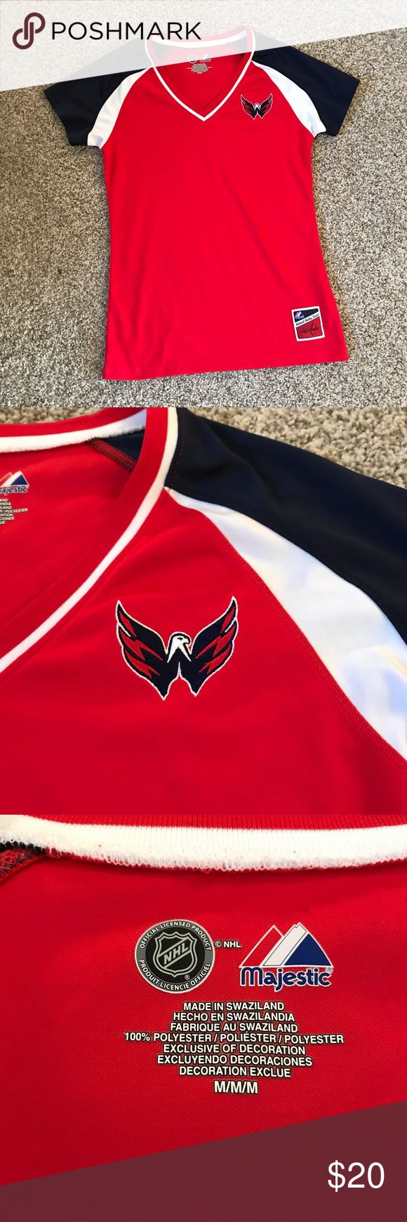 Washington Capitals NHL Women's Jersey Medium NEW New without tags. Cute slim cut jersey material short sleeve top. Ladies size medium. C-A-P-S CAPS CAPS CAPS! ❣️ REASONABLE offers are accepted! No trades please. Tops Tees - Short Sleeve