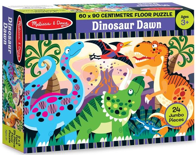 Melissa & Doug - Floor Puzzle Dinosaur Dawn 24 pieces Love construction on the floor. What a great puzzle with bright colours! #EntropyWishList #PinToWin