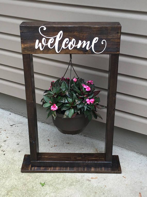 Decorative Hanging Basket Stand Welcome Sign Optional Available In Many Colors And Sizes Decorative Hanging Baskets Hanging Basket Stand Home Decor Baskets