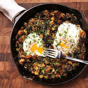 Crispy Kale, Brussels Sprouts, and Potato Hash