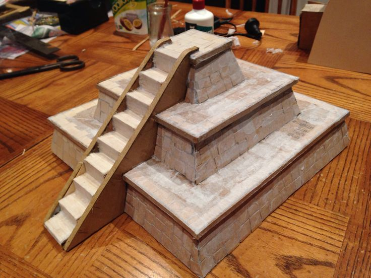 Mayan temple takes shape corrugated cardboard base