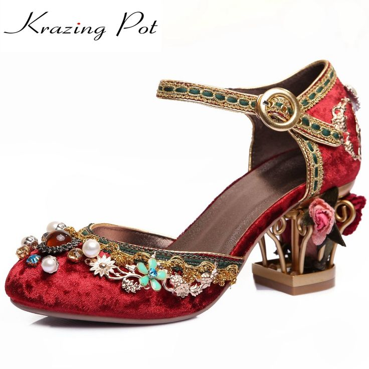 Krazing Pot 2017 New fashion brand shoes luxury big size flower pearl high heel  women pumps party wedding crystal causal shoes 4c14912ac2c8
