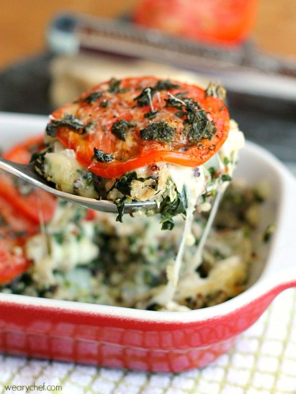 Caprese Quinoa Casserole - This turkey casserole is warm, cheesy, and healthy!