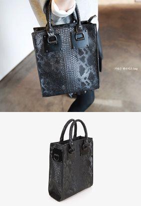 Structured Snake-Embossed Handbag