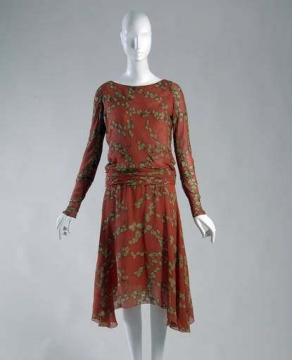 "Day dress, 1925. Printed silk crepe, metallic thread. Gabrielle ""Coco"" Chanel, France."