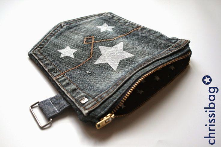 Jeanstäschchen / Zippered jeans pouch / Upcycling