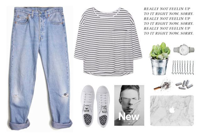 """Really not feeling up to it rn."" by stevie-g ❤ liked on Polyvore featuring Levi's, MANGO, COS, CO, adidas, BOBBY and CLUSE"