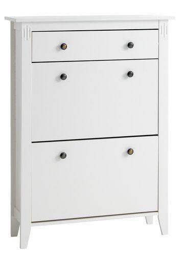 Kenkäkaappi AULUM 2 lokeroa valkoinen | JYSK Valkolakattua massiivista mäntyä ja MDF. 2 lokeroa ja 1 laatikko. L80 x K108 x S25 cm 85 €