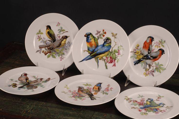 Schumann Arzberg Birds, Dessert / Salad Plate, Germany, Set of 6 by dinaandpartners on Etsy