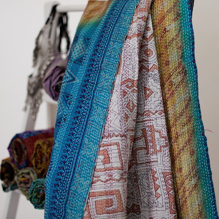 Kantha Silk Scarf 105 | The Hues of India
