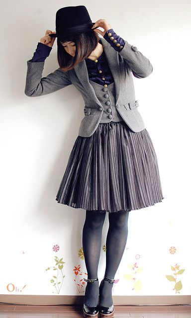 We all have shades of grey....I'm in love with the crepe material of the skirt!