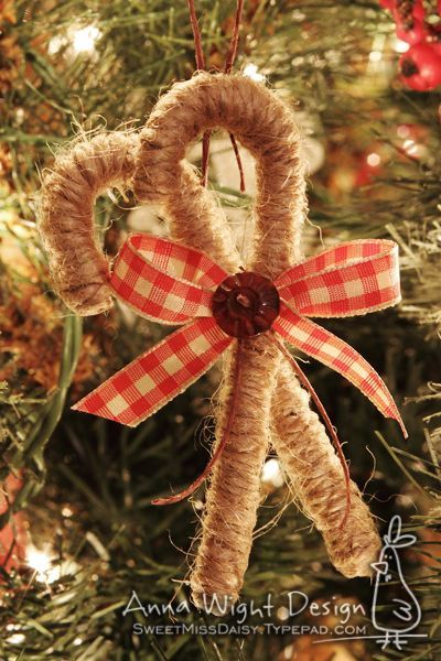 Ornaments - twine wrapped candy canes!