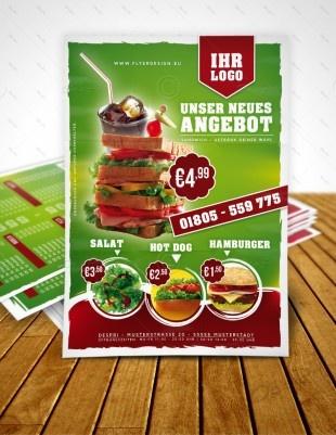 Imbiss Flyer Vorlage, Sandwich Flyer, Fast Food Flyer, Menu - Design inkl. Druck, F0008A | Flyer | Designvorlagen | Despri